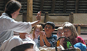 Young students learning about Apalachee lifeways and traditions